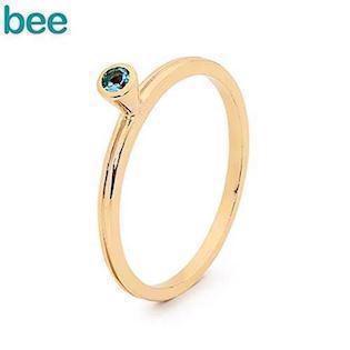 Bee Jewelry Goldring in 9 kt. mit blauem Topas