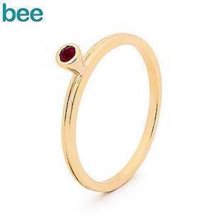 Bee Jewelry Goldring in 9 kt. mit rotem Rubin